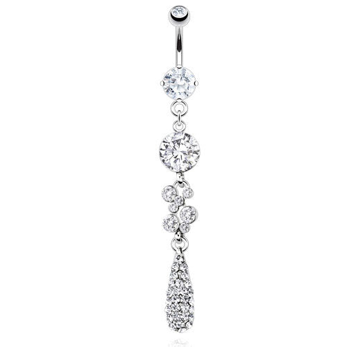 Paved Teardrop Dangling Belly Bar - Dangling Belly Ring. Navel Rings Australia.