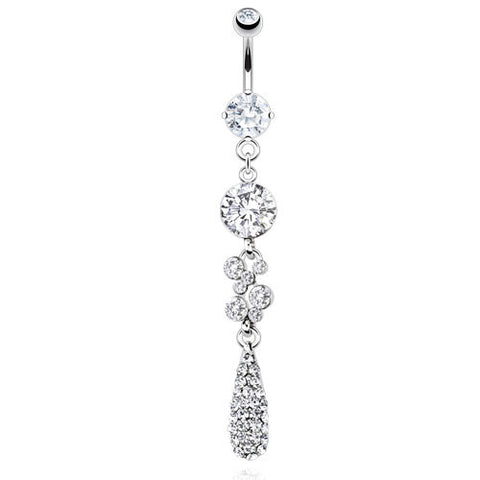 Dangling Belly Ring. Belly Rings Australia. Paved Teardrop Dangling Belly Bar
