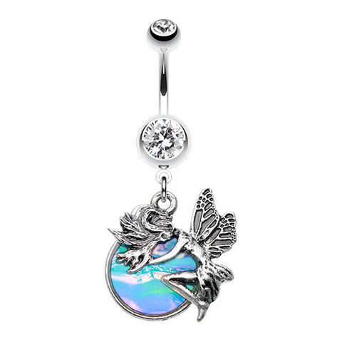 Dangling Belly Ring. Navel Rings Australia. Mystical Opal Fairy Belly Piercing