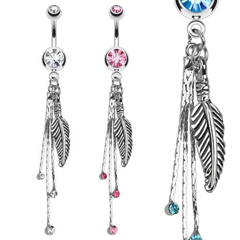 Dangling Belly Ring. High End Belly Rings. Dangling Feather and Chains Navel Bar
