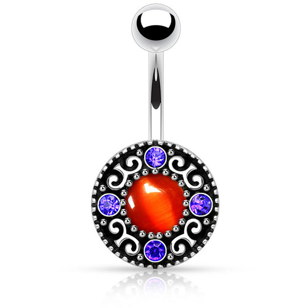 Antique Cats Eye Belly Button Ring