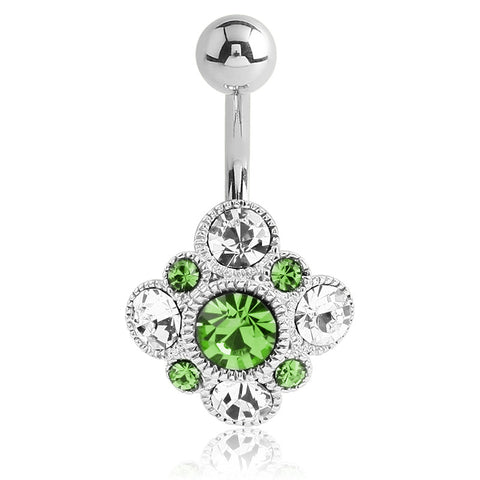 Fixed (non-dangle) Belly Bar. Quality Belly Bars. Byzantine Lime Belly Button Ring
