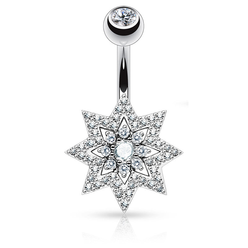 Cosmic Crystal Star Navel Ring - Fixed (non-dangle) Belly Bar. Navel Rings Australia.