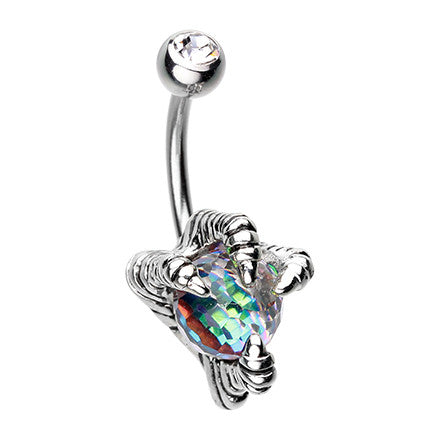 Basilisk Dragon Claw Belly Button Bar - Fixed (non-dangle) Belly Bar. Navel Rings Australia.