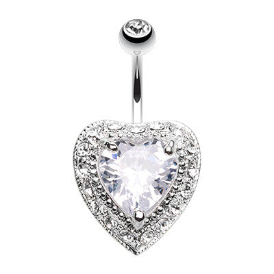 Fixed (non-dangle) Belly Bar. High End Belly Rings. Glacier Heart Navel Ring