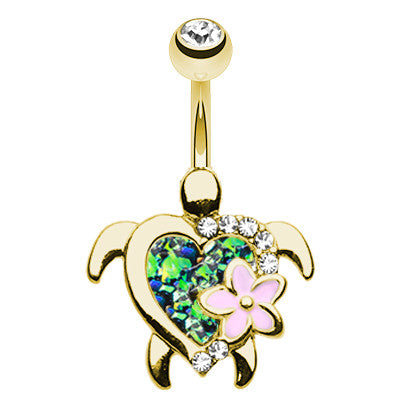 Fixed (non-dangle) Belly Bar. High End Belly Rings. Gold Wildfire Opal Turtle Belly Button Bar