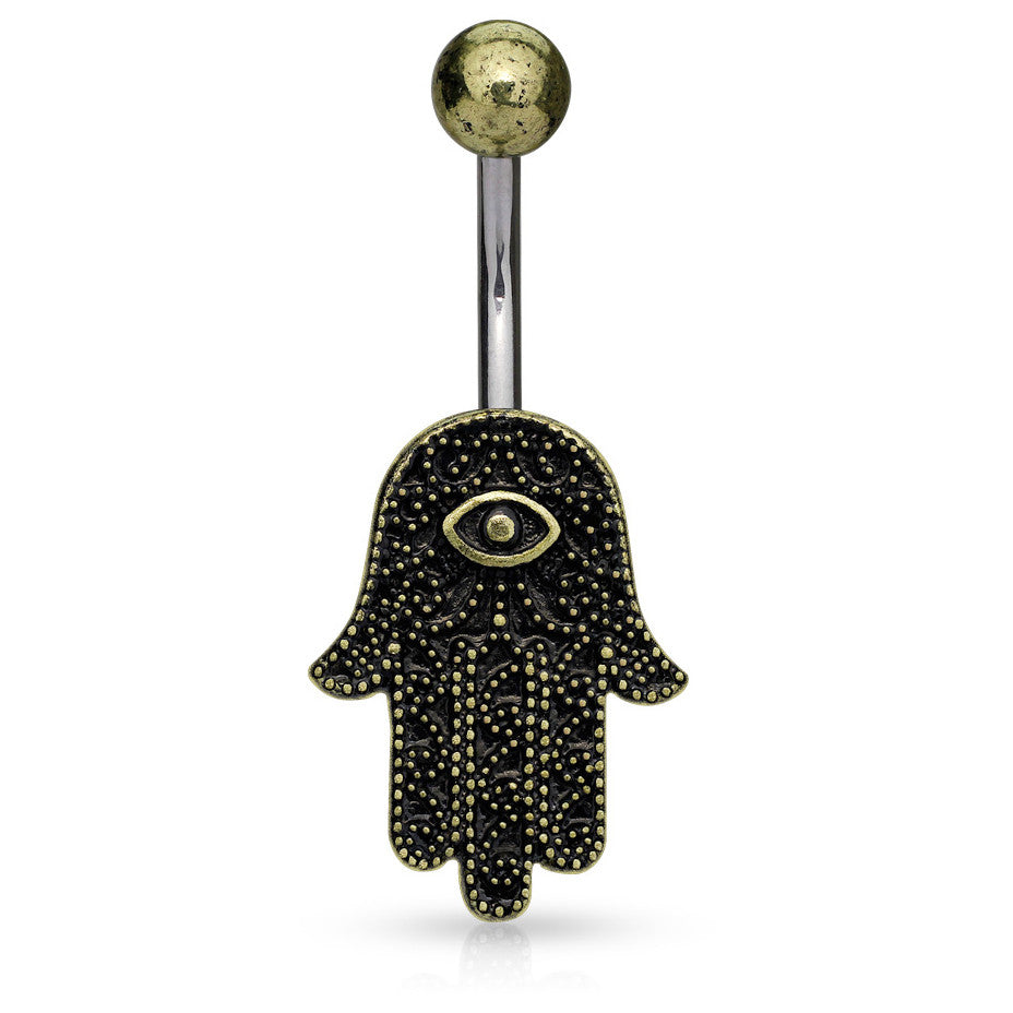 Cirantana Hamsa Navel Piercing Bar - Fixed (non-dangle) Belly Bar. Navel Rings Australia.