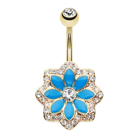 Golden Lotus Flower Belly Piercing Ring - Fixed (non-dangle) Belly Bar. Navel Rings Australia.