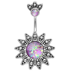 Crowned Athena Opal Belly Ring - Fixed (non-dangle) Belly Bar. Navel Rings Australia.