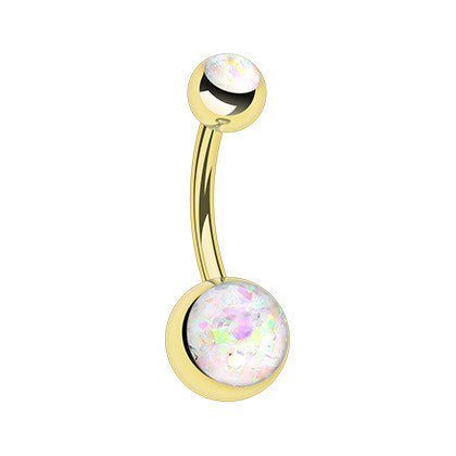 Basic Curved Barbell. Belly Bars Australia. Gold Opal Gleam Belly Button Ring
