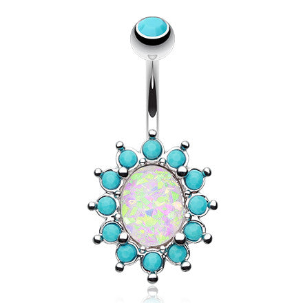 Timeless Turquoise Opale Belly Button Ring - Fixed (non-dangle) Belly Bar. Navel Rings Australia.