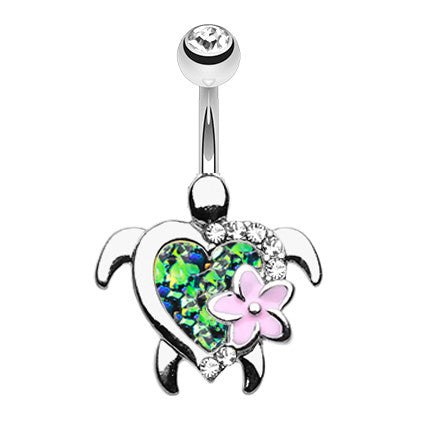 Wildfire Opal Sea Turtle Navel Bar - Fixed (non-dangle) Belly Bar. Navel Rings Australia.
