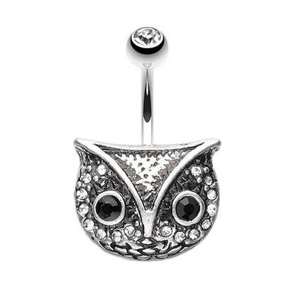 The Classic Owl Belly Bar - Fixed (non-dangle) Belly Bar. Navel Rings Australia.
