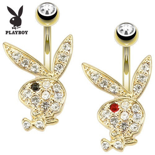 Gold Plated Playboy Bunny Belly Ring - Fixed (non-dangle) Belly Bar. Navel Rings Australia.