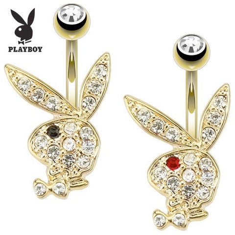Fixed (non-dangle) Belly Bar. Belly Rings Australia. Gold Plated Playboy Bunny Belly Piercing Ring