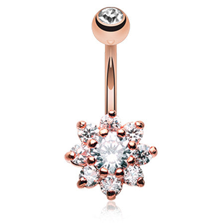 Jala Crystal Flower Belly Ring - Fixed (non-dangle) Belly Bar. Navel Rings Australia.