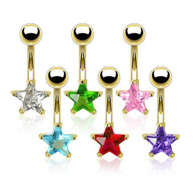Gold Plated Cubic Zirconia Star Belly Button Bar - Fixed (non-dangle) Belly Bar. Navel Rings Australia.