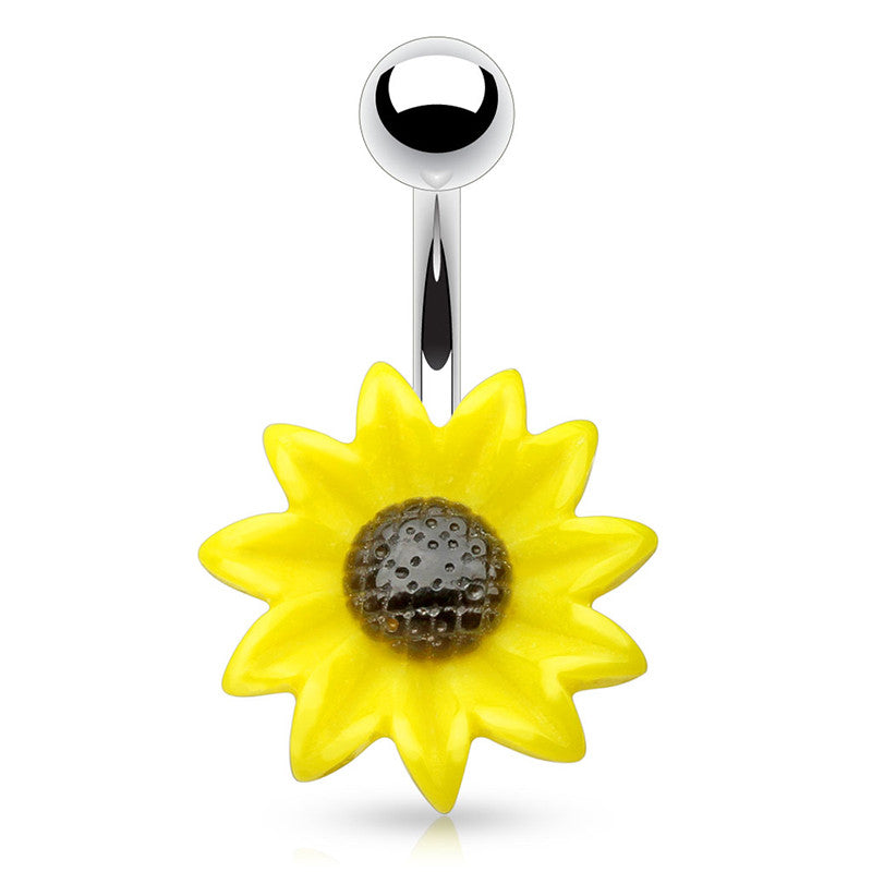The Summer Sunflower Belly Ring - Fixed (non-dangle) Belly Bar. Navel Rings Australia.