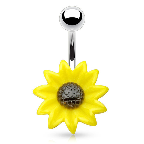 Fixed (non-dangle) Belly Bar. Cute Belly Rings. The Summer Sunflower Belly Ring