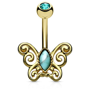 Turquoise Flutter Belly Ring in Gold - Fixed (non-dangle) Belly Bar. Navel Rings Australia.
