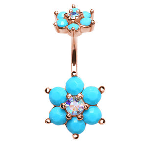 Split Turquoise Burst Belly Bar in Rose Gold - Split Spinal Belly Bar. Navel Rings Australia.
