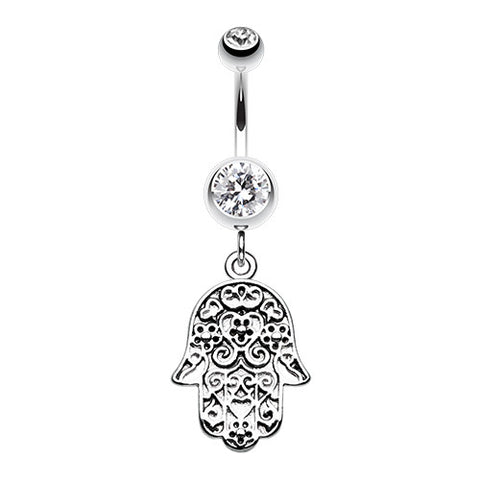 Dangling Belly Ring. Shop Belly Rings. Floral Filigree Hamsa Belly Bar