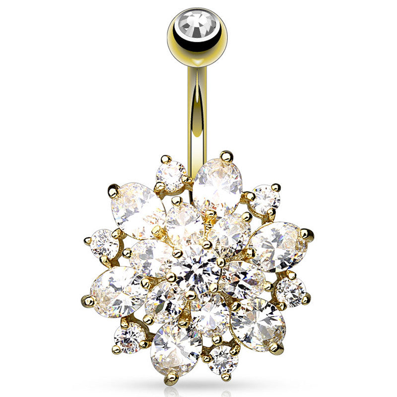 Mexican Dahlia Navel Piercing Bar in Gold Plated - Fixed (non-dangle) Belly Bar. Navel Rings Australia.