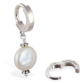 TummyToys® Silver Cream Freshwater Coin Pearl Pendant - TummyToys® Patented Clasp. Navel Rings Australia.