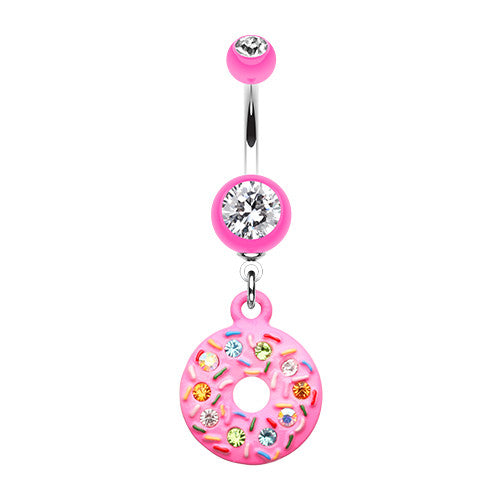 Pink Frosted Donut Dangly Navel Bar - Dangling Belly Ring. Navel Rings Australia.