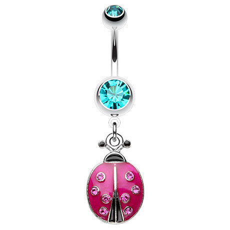 Vibrant Lady Bug Belly Button Bar - Dangling Belly Ring. Navel Rings Australia.