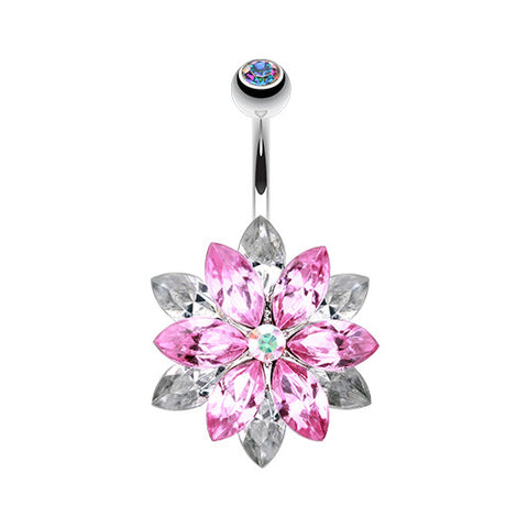 Fixed (non-dangle) Belly Bar. Navel Rings Australia. Marquis Lotus Flower Belly Piercing Ring