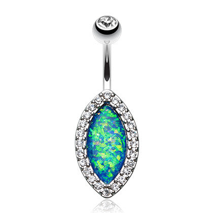 Wildfire Tears Opal Belly Ring - Fixed (non-dangle) Belly Bar. Navel Rings Australia.