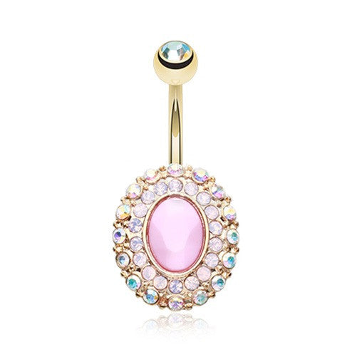 Gold Plated Radiant Pink Navel Ring - Fixed (non-dangle) Belly Bar. Navel Rings Australia.