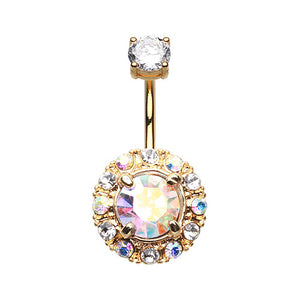 Majestic Aurora Gem Belly Ring in Gold - Fixed (non-dangle) Belly Bar. Navel Rings Australia.