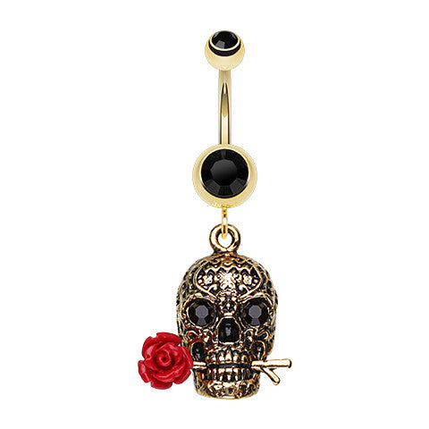 Dangling Belly Ring. Quality Belly Bars. Golden Rose Skull Dangly Belly Piercing
