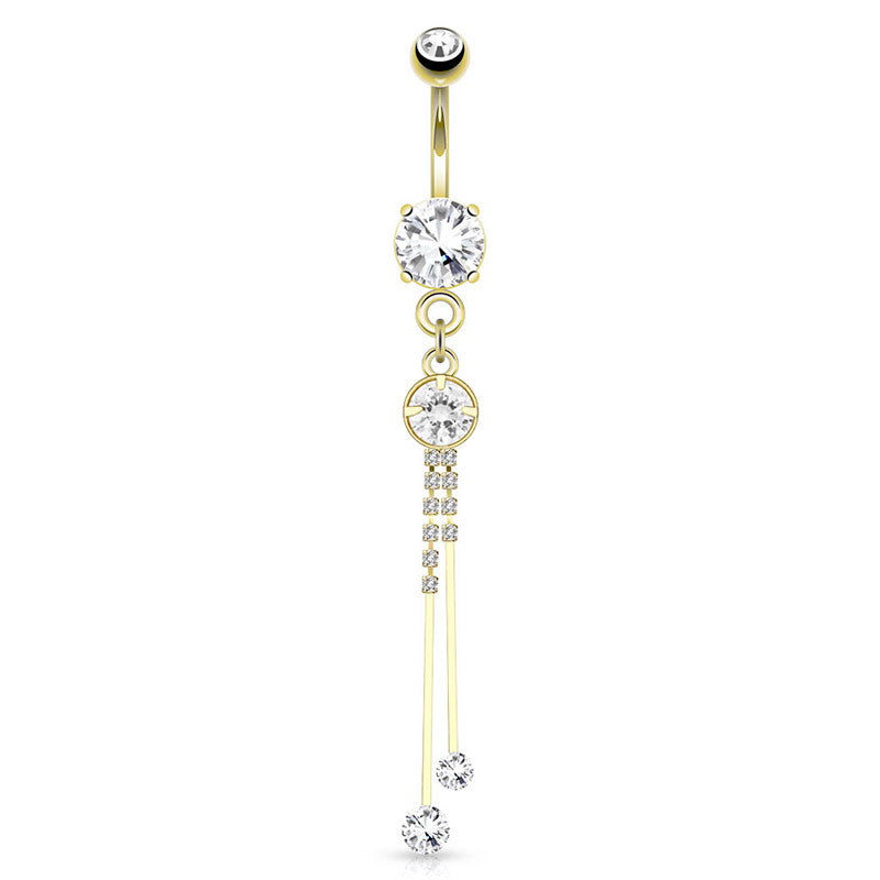 Gold Plated Tahlia Bar Dangle - Dangling Belly Ring. Navel Rings Australia.