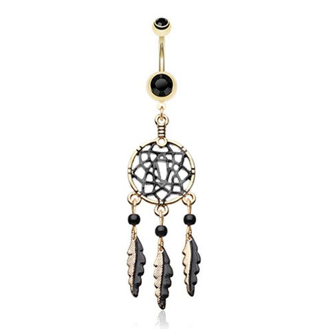 Dangling Belly Ring. Belly Bars Australia. Golden Black Dream Catcher Belly Button Ring