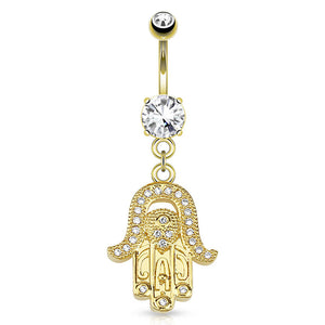 Golden Hamsa Amulet Dangle Belly Button Ring - Dangling Belly Ring. Navel Rings Australia.