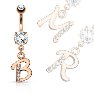 Rose Gold Plated Initial Navel Jewelry - Dangling Belly Ring. Navel Rings Australia.