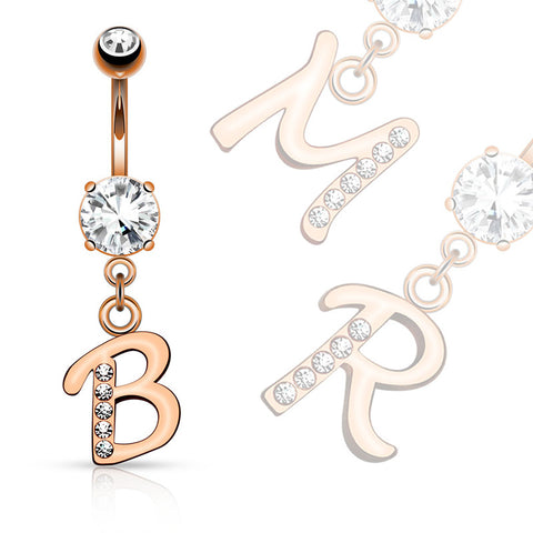 Dangling Belly Ring. Buy Belly Rings. Rose Gold Plated Initial Navel Jewelry