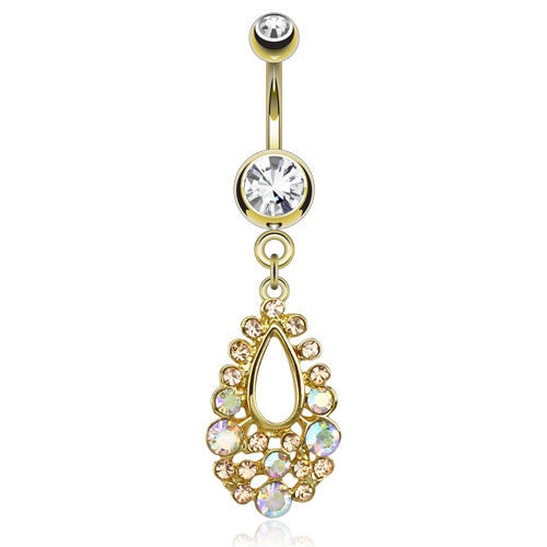 Gold Plated Hollow Teardrop Belly Bar - Dangling Belly Ring. Navel Rings Australia.