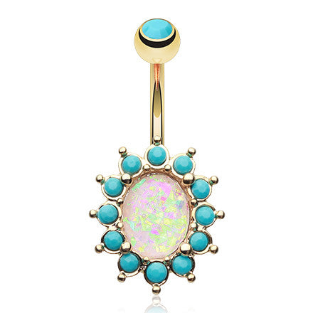 Golden Turquoise Opale Belly Piercing Ring - Fixed (non-dangle) Belly Bar. Navel Rings Australia.