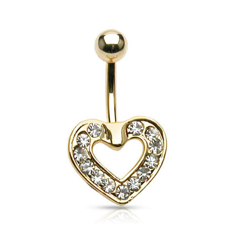 Fixed (non-dangle) Belly Bar. High End Belly Rings. Gold Plated Floating Heart Belly Piercing
