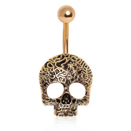 Fixed (non-dangle) Belly Bar. Shop Belly Rings. Antique Golden Etched Skull Belly Piercing