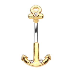 Golden Spinal Anchor Belly Button Ring - Split Spinal Belly Bar. Navel Rings Australia.