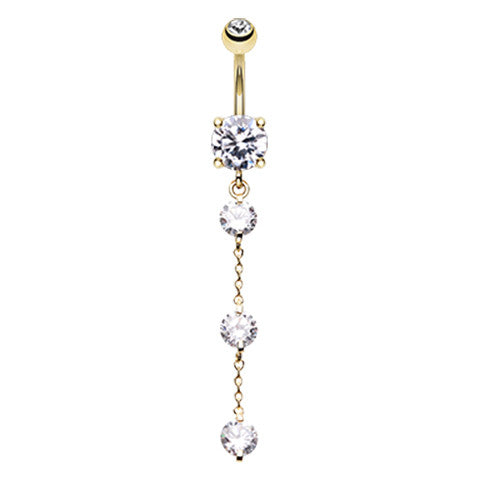 Dangling Belly Ring. Cute Belly Rings. Golden Crystal Falls Navel Bar