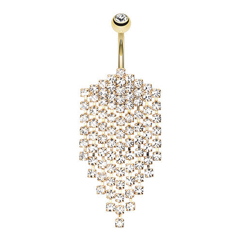 Beach Glam Water Droplets Navel Ring in Gold - Dangling Belly Ring. Navel Rings Australia.