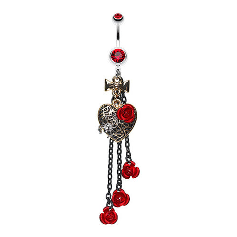 Dangling Belly Ring. Shop Belly Rings. Gothic Metal Rose Heart Belly Button Ring