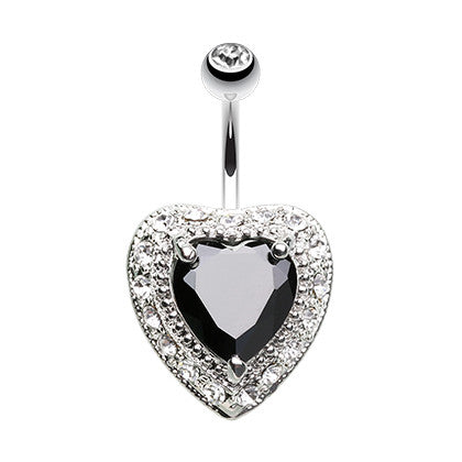 Fixed (non-dangle) Belly Bar. Cute Belly Rings. Grande Black Paved Heart Navel Bar