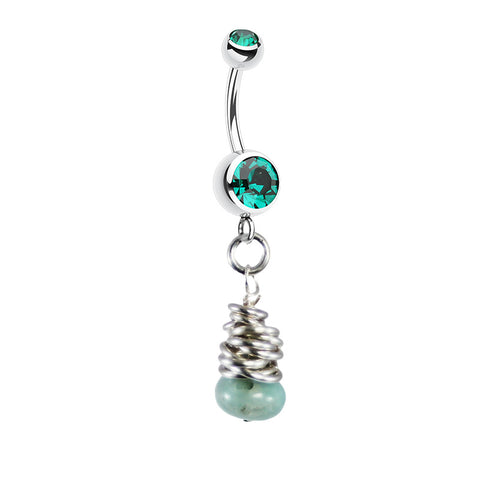 Saltwater Silver Green Agate Navel Ring
